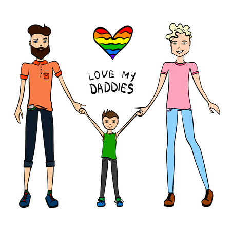 gay family: Gay Family Illustration with Two Guys Being in Love, a Kid and Holding Hands, Colorful Sketch