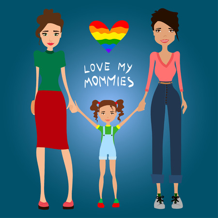 lesbian women: Gay Family Love My Mommies Illustration with Two Lesbian Women in Love, Holding Hands with Their Kid, Flat Design