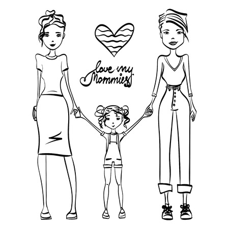 gay family: Gay Family Love My Mommies Illustration with Two Lesbian Women in Love, Holding Hands with Their Kid, Sketch Design