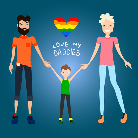 gay family: Gay Family Illustration with Two Guys Being in Love, a Kid and Holding Hands, Flat Design