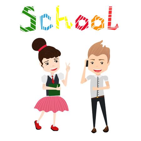 女子高生、女子校生、学校の少年、カラフルなスクール ・ タイポグラフィ ・ レタリングのかわいいカラフルなベクトル学校図