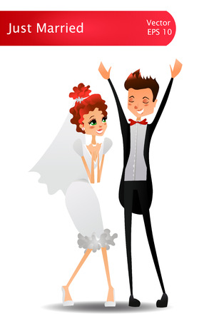 Isolated Colorful and Romantic Vector Wedding Just Married Greeting Card Illustration