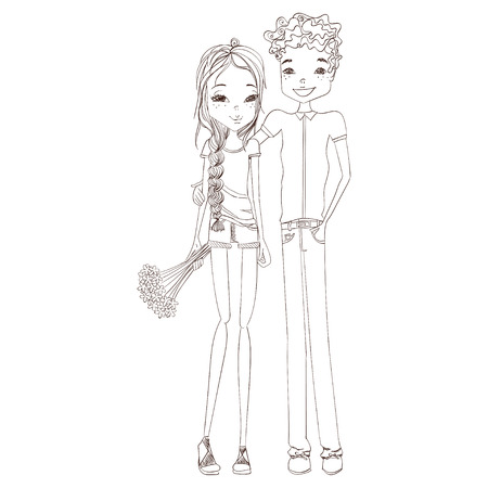 stylish couple: Sketched Vector Fashion Illustration with a Beautiful Stylish Couple in Love and a Bouquet of Flowers