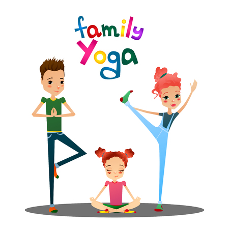 family playing: Cute Isolated Vector Cartoon Family Yoga Illustration with Cartoon Family Characters Like Mother