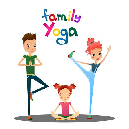 Linda aislada del vector de la familia de la historieta de la yoga Ilustración con la familia de dibujos animados personajes como Madre Ilustración de vector
