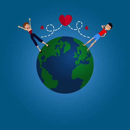 Vector Flat Design Long Distance Relationship Illustration with the Earth Globe, a Couple in Love and Red Hearts Illustration