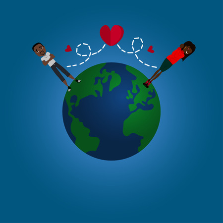 long distance: Vector Flat Design Long Distance Relationship Illustration with the Earth Globe, a Couple in Love and Red Hearts Illustration
