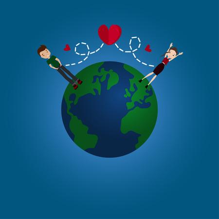 Ilustración vectorial Diseño plana relación de larga distancia con el globo de la tierra, una pareja en el amor y los corazones rojos