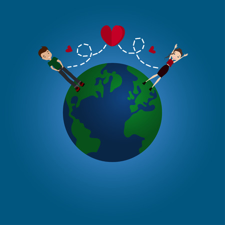Vector Flat Design Long Distance Relationship Illustration with the Earth Globe, a Couple in Love and Red Hearts Ilustração