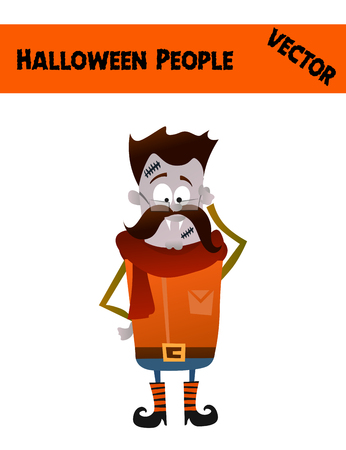red boots: Isolated Festive Orange October Vector Halloween Guy Illustration with a Man Wearing Halloween Zombie Costume: Funny Boots, Red Scarf, Mustache, Blue Skin and Scars
