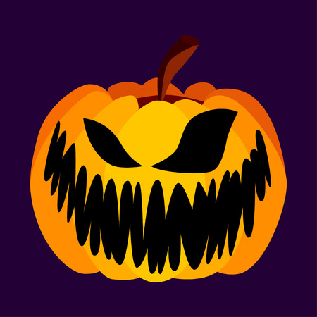 citrouille halloween: Isolated Vector Jaune Orange Festive effrayant Halloween Pumpkin avec un Jack Scary Face sur fond pourpre, Fantasmagorie unique Icône