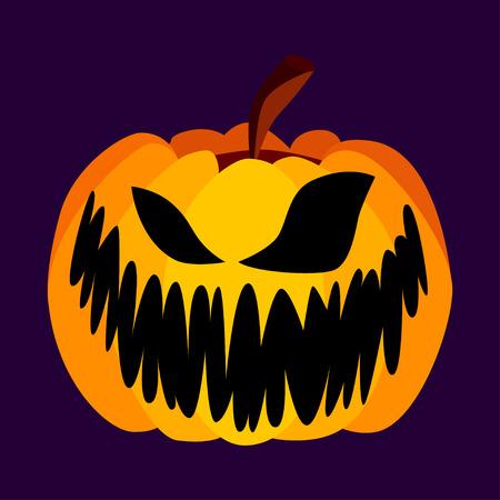 calabaza caricatura: Vector aislado amarillo-naranja festiva de la calabaza de Halloween de miedo con un Jack asustadizo cara en el fondo púrpura, Spooky solo icono