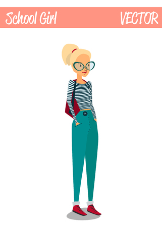 Blonde Student Girl Cartoon Character Illustration Smiling and Wearing Casual Cute Clothes: Striped Sweatshirt, Pants, Glasses and Backpack