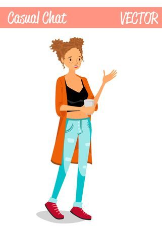 Blonde Chatty Girl Cartoon Character Illustration Holding a Cup of Coffee, Smiling, Chatting and Wearing Casual Clothes: Jeans, Black Tank Top and Jacket