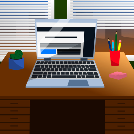Cool Vector Advanced Study Room with a Laptop, Pen, Pencils, Cute Cactus, Pink Note Stickers on a Grey Desk and Windows in Flat Design