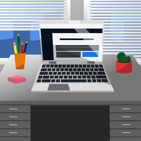 Cool Vector geavanceerde studeerkamer met een laptop, pen, potloden, schattige cactus, roze notitiestickers op een grijs bureau en Windows met witte jaloezie in plat ontwerp