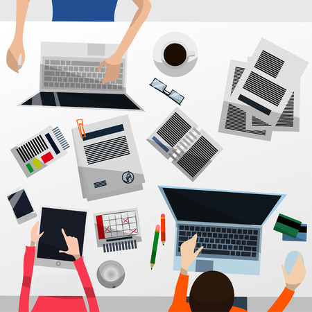 Cool Vector Advanced Gradient Grey Desktop with a Team Working on Their Computers and a Tablet; Paperwork, Smartphone, Calendar, Glasses, Credit Cards and Coffee in Flat Design Stok Fotoğraf - 65802637