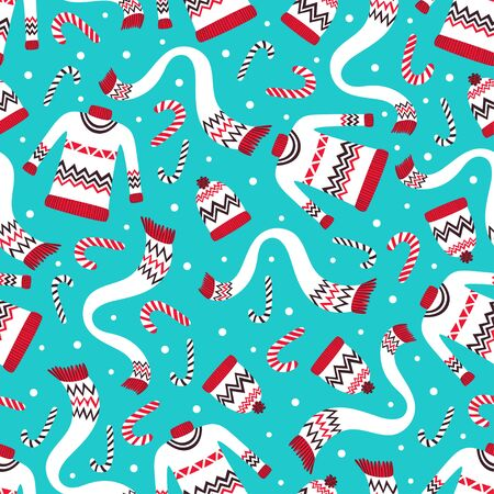 paper hats: Vintage Christmas Seamless Pattern with Winter Sweaters, Hats and Scarf. Festive Holiday Seamless Pattern Background for Gift Wrapping Paper