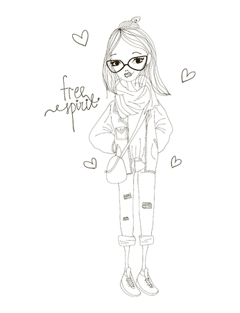 free spirit: Free Spirit Fashion Illustration with a Fashion Girl Wearing Stylish Clothes. Black and White Free Spirit Typography with Hearts Illustration