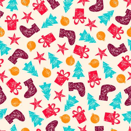 illustration raster vintage christmas seamless pattern for christmas wrapping paper xmas illustration with presents santas socks christmas tree - Vintage Christmas Wrapping Paper