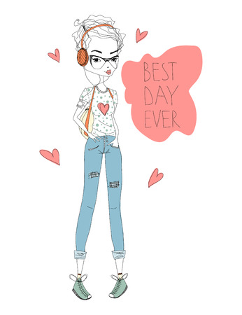 The Best Day Fashion Illustration with a Cute Shorthaired Girl and Lettering. Colorful Fashion Print. Fashion Girl Illustration for Magazines, Blogs and T-Shirt Prints Illustration