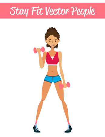 Stay Fit Vector People Illustration with a Fitness Girl, Dumbbells and Sportswear. Vector Isolated Fitness Girl Wearing Colorful Sportswear. Colorful Fitness Girl Illustration Illustration