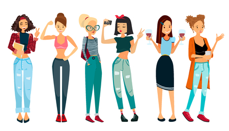 young group: Vector People Illustration with Six Beautiful Women: Student Girl, Fitness Girl, School Girl, Selfie Girl, Office Girl and a Housewife. Colorful Vector People Set Collection