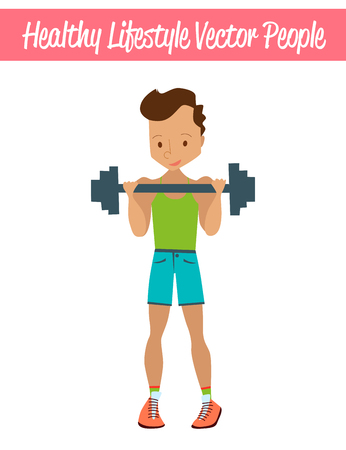 Flat Healthy Lifestyle Vector People Illustration with Fitness Guy Wearing Sportswear, Exercising and Lifting Weights. Isolated Colorful Sport Illustration Illustration