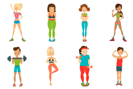 Flat Healthy Lifestyle Vector People Set Illustration with Fitness Girls and Fitness Guys Wearing Sportswear, Exercising with Dumbbells. Isolated Colorful Sport Illustration Collection Illustration