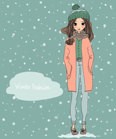 cute winter greeting card with a young beautiful girl wearing warm clothes and winter background Çizim