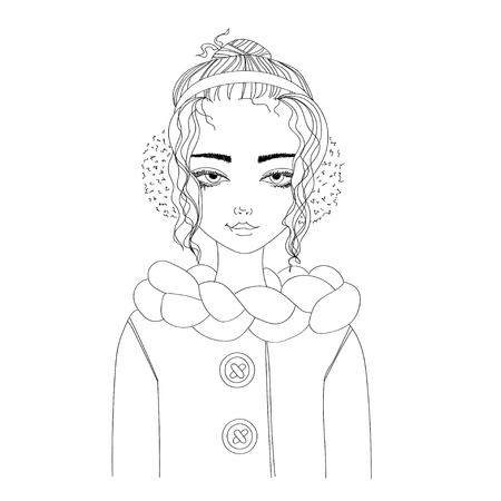 fashion illustration with a young pretty girl wearing warm winter clothes. monochrome illustration for blogs, magazines, books Çizim