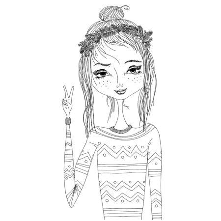 따뜻한 아늑한 스웨터와 화 환을 입고 젊은 예쁜 여자와 패션 일러스트 레이 션. 블로그, 잡지, 책 흑백 그림