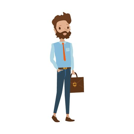 Cheerful male teacher standing and holding his case. Young man wearing blue shirt, dark jeans, orange tie, bushy beard. vector people cartoon illustration. Illustration