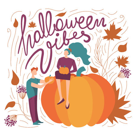 colorful vector halloween vibes illustration. seasonal festive halloween themed concept with a woman, a man, orange pumpkins, leaves and lettering. fall season vibe. purple and orange colors. Standard-Bild - 120065838