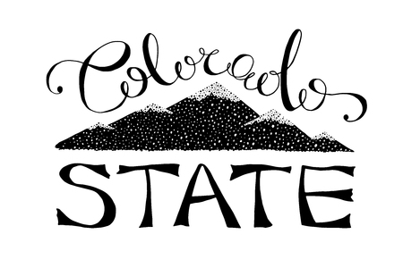 black and white colorado state vector illustration. monochrome typography lettering template with text and colorado mountains. pikes peak vintage design. old t-shirt print design.