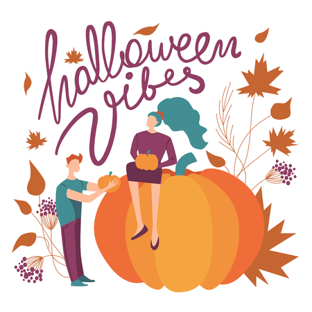 colorful vector halloween vibes illustration. seasonal festive halloween themed concept with a woman, a man, orange pumpkins, leaves and lettering. fall season vibe. purple, green and orange colors. Illustration