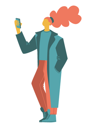 cartoon vector people. a woman taking pictures, selfie, wearing a long oversized coat. isolated casual people vector illustration in an orange green color scheme. simple flat people design elements Standard-Bild - 120065847