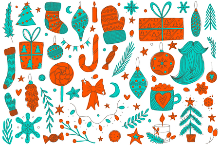 colorful hand drawn vector christmas doodle set with ornaments, santa's socks and mittens, pine trees, candy cane, lollipop, bow, candies, santa's beard, stars, christmas tree lights and presents. Ilustracja