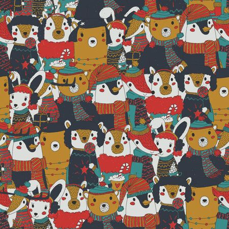 vintage christmas seamless pattern with festive animals wearing warm winter clothes. retro xmas repeating background. rusty and old christmas wrapping paper with bunch of animal portraits. Standard-Bild - 134717750