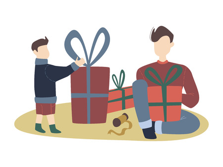 colorful vector flat cartoon christmas illustration with festive christmas decorations, family gathering - father and son, gifts, cozy indoor scene. vector cartoon xmas family scenery in flat design.