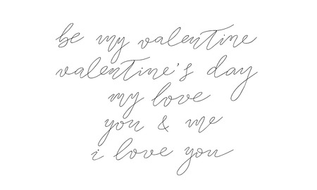 vector saint valentines day collection of hand drawn lettering. isolated vector free hand calligraphy ink sketch design.