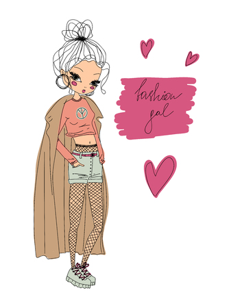 vector fashion girl linear illustration. colorful fashion girl hand drawn in line art wearing stylish clothes, fashion gal calligraphy and hearts. colorful outline of a fashion gal vector illustration