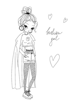 vector fashion girl linear illustration. black and white fashion girl hand drawn in line art wearing stylish clothes, fashion gal calligraphy and hearts. outline of a fashion gal vector illustration.