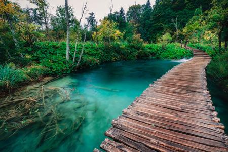 pedestrian walkway: Wood pedestrian walkway in Plitvice National Park