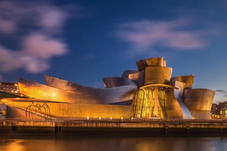 SPAIN, BILBAO - APRIL 06, 2016: The Guggenheim Museum Bilbao. Guggenheim Museum Bilbao is one of the most admired works of contemporary architecture. Editorial