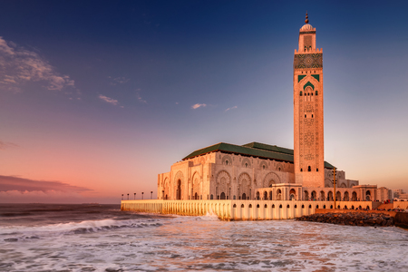 The Hassan II Mosque  largest mosque in Morocco. Shot  after sunset at blue hour in Casablanca. Stock Photo