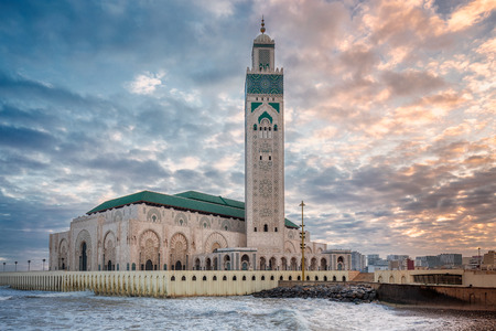 The Hassan II Mosque  largest mosque in Morocco. Shot  at sunrise in Casablanca. Фото со стока