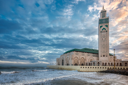 The Hassan II Mosque  largest mosque in Morocco. Shot  at sunrise in Casablanca. Stock Photo