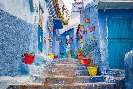 Street of famous blue city of Chefchaouen, Morocco.