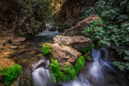 banias: Banias river at north of Israel, flowing over rocks, shot with long exposure technique. Stock Photo